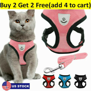Cats Walking Jacket Harness And Leads Escape Proof Pet Dogs Adjustable Mesh Vest