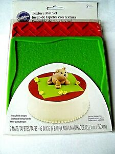 Silicone Texture Mats 2 pc from Wilton NEW GRASS/BRICK FREE S&H