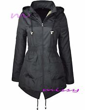 NEW Ladies JACKET RAIN MAC PARKA Womens SHOWER Festival RAINCOAT Size 8-24PLAIN
