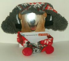 New listing New Dog Fleece Trapper Hat and Scarf size Medium/Large Gray Red Fetchwear