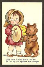 TUCK POSTCARD: GRACE WIEDERSEIM DRAYTON - CUTE LITTLE DRUMMER GIRL & TEDDY BEAR