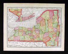 1914 McNally Map - New York - Long Island Niagara Syracuse NY City Hudson River