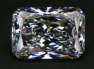 TOP QUALITY 6A++ RADIANT CUT 14x10 MM. WHITE RUSSIAN CUBIC ZIRCONIA CZ