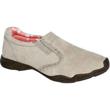 NEW Womens Faded Glory Suede Leather Beige Walking Slip On Casual Shoes Size 8