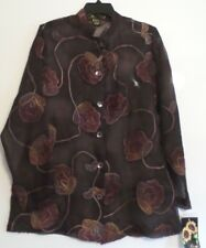 NWT-MIRASOL SHEER EMBROIDERED LS TUNIC BLOUSE-SZ MEDIUM-BROWNS-GORGEOUS!