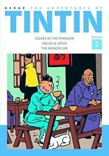 TINTIN 3 ADVENTURES IN 1 Volume [2] Cigars Of The Pharaoh,Blue Lotus, Broken Ear