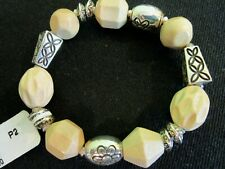 Brighton LANAI Wood & Silver Stretch BRACELET * New w/Tag Includes Fabric Pouch!