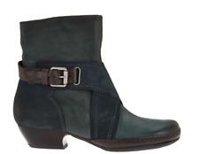 Miz Mooz Leather Boots Crossover Detail Elwood Emerald Blue Women EU40 US 9-9.5