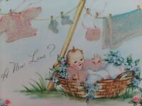 1940-50s Fuzzy  BABY CLOTHES on CLOTHESLINE Congrats New Baby GREETING CARD
