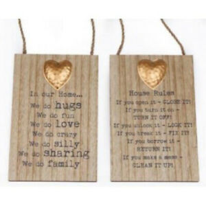 Set of 2 Wooden Heart Hanging Plaques Metal Decoration Ladies Anniversary Gifts