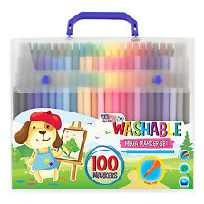Childrens 100 Count Washable Felt Tip Marker Pens Fine Tip Bold Colors Kids Art