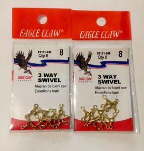 Two Packs Of Eight Eagle Claw 3 Way Swivel ( Qty 16 ) 01151-008 New In Package