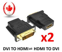 DVI 24+1 To HDMI Adapter Converter Male To Female HDMI To DVI Adapter - 2 PACK