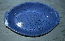 Cerutil Stoneware Portugal Casserole Serving Dish Blue Black Speckled Bakeware
