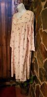 Vintage Adonna Cotton Flannel Nightgown, Farm Style  Floral Pre Owned Sz L