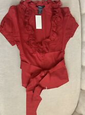 Red Cotton Women's Blouse Size XS , Arden B.
