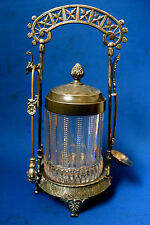 FABULOUS THICK PRESSED GLASS MERIDIAN VICTORIAN PICKLE CASTER
