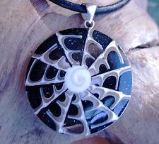 Groß Silber Anhänger 5,5 cm Muschel Perlmutt Spinnennetz Glitzer Shiva Eye Auge