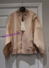 Zara Faux Suede Pale Pink Bomber Jacket Large L 12 New