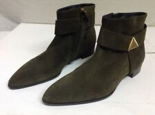 New GIUSEPPE Homme Studded Suede Pointed Toe Ankle Boots, Green 45 US 12