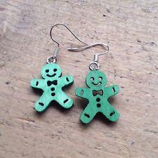 Gingerbread Man Drop Earrings Green Cute Kitsch Candy Gift