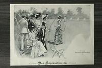 Kunst Druck 1900 Das Bogenschiessen - Edward Cucuel Frauen Kleider Mode 25x18cm