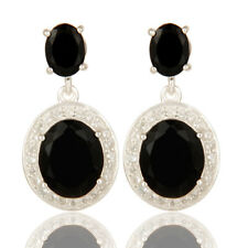 Prong Set Black Onyx Gemstone Dangle Earrings 925 Silver Designer Jewelry