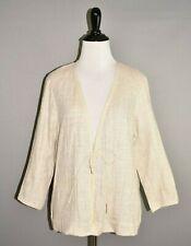 EILEEN FISHER $228 Lightweight Linen Cotton Jacket Tie Front Medium