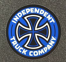 Independent Truck Company Skateboard Sticker CROSS 5in blue si