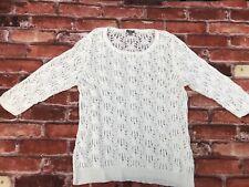 J Jill Women's Ivory Lace 3/4 Sleeve Sweater Size Large Summer Cotton Nylon