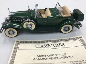 Danbury Mint-1932 Cadillac V-16 Green Sport Phaeton -no boxes, but has title /24