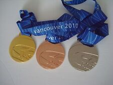 2010 Vancouver Olympic Medals Set: Gold /Silver /Bronze with Silk Ribbons !!!