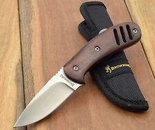 Couteau De Chasse Burshcraft Browning Lame Acier Carbone/Inox Manche Bois BR803