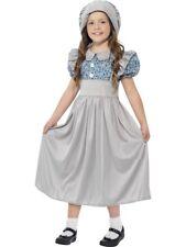 Smiffys Children's Victorian School Girl Costume Dress & Hat Colour Grey Size S 27532