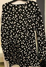 Other Stories, black/ white polka dot, mini dress with exaggerated sleeves - 38