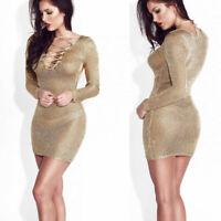 Women Split Slit Mesh Sheer Long Sleeve Dress Party Nightout Club Mini Dresses
