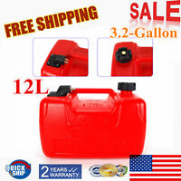 Plastic Fuel Tank-3.2 Gall Low Profile 12L Portable Outboard Boat Motor Gas Tank