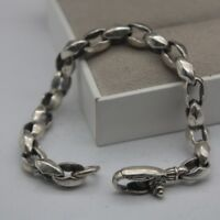 Pure 925 Sterling Silver Special 9mm Cable Link Men's Bracelet 20cm