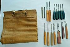 14 Woodworking Wood Lathe Chisels Gouges Carving Tools Craftsman Ostrich Leather