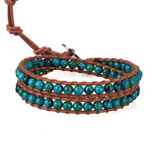 2 wrap bracelet Turquoise Bead on Genuine leather fashion handmade Chain Jewelry
