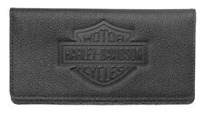 Harley-Davidson Womens B&S Embossed Checkbook Cover, Black Leather ZWL4752-BLACK