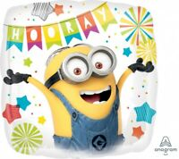 """MINIONS DESPICABLE ME HOORAY 18"""" FOIL BALLOON BIRTHDAY PARTY SUPPLIES"""