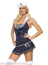 Leg Avenue Damas Sexy En Azul Marino Sailor uniforme Hen party Fancy Dress Costume Outfit
