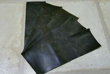 """Green Vintage Aged 100% leather 9""""x3"""" offcuts 4 pieces 1.2mm Craft Patch Repair"""