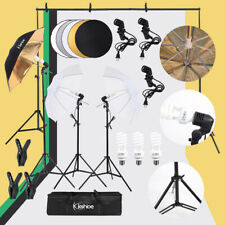 Photo Photography Umbrella Lighting Kit Studio Lamp+Backdrop Stand+Reflector Set