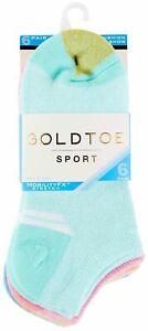 Gold Toe Womens 6-pk. Solid Sport Cushion Liner Socks 9.5-11 Blue/pink/purple