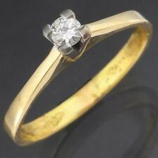 Higher set 18k Solid Yellow GOLD & DIAMOND Solitaire / Engagement RING Sz Q1/2