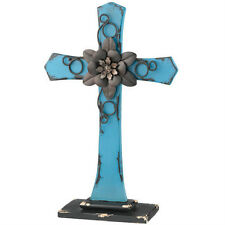 Tabletop Cross Blue Shabby Chic Style