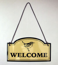 Sign Welcome Bird Hanging Plaque Yellow & Green 20cm Door Porch House Metal New