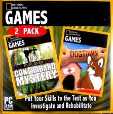 2 National Geographic Games: Explorer Contraband Mystery, DogTown New PC CD-ROM